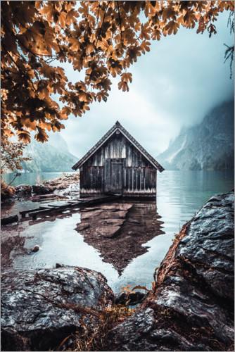 Premium poster Hut on the Obersee in autumn