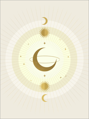 Premium poster Moon Galaxy - Gold
