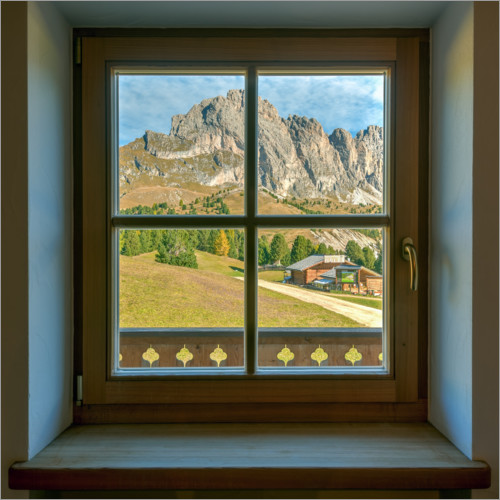 Wall sticker Window view in the Dolomites