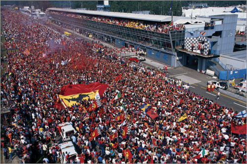 Premium poster Ferrari fans invade the circuit after race, Monza, Italy 2000