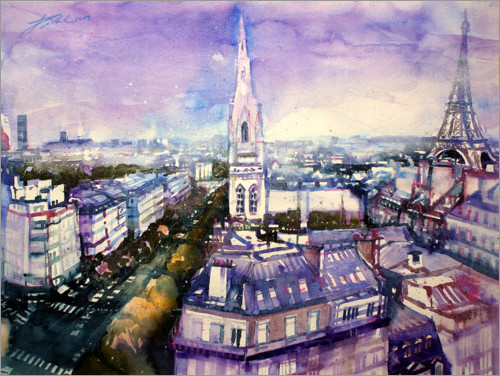 Premium poster American cathedral with Eiffel tower