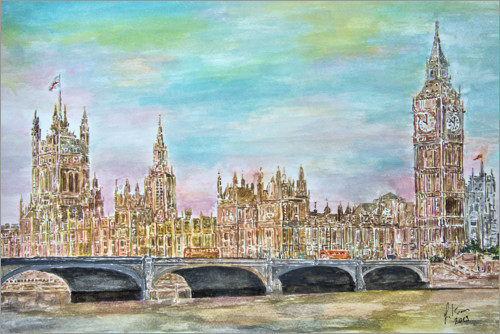 Premium poster Westminster Palace with Westminster Bridge