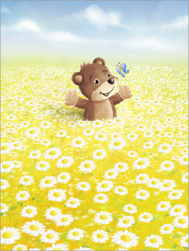 Premium poster Cute bear and butterfly on a flower meadow