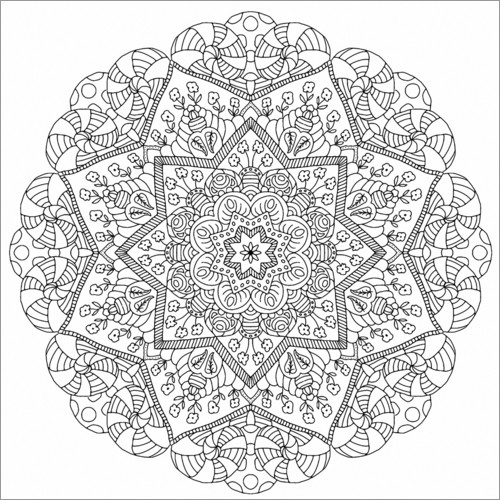 Colouring poster The flower mandala