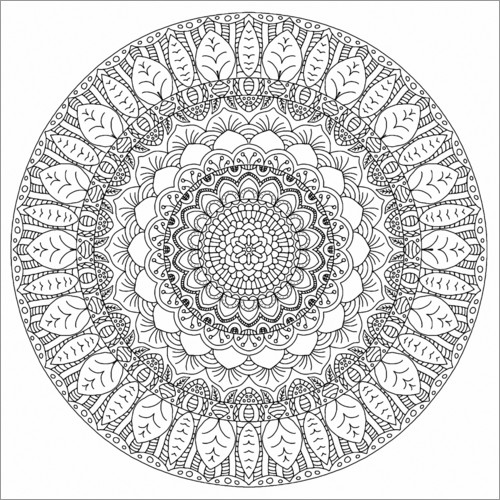 Colouring poster The leaves mandala