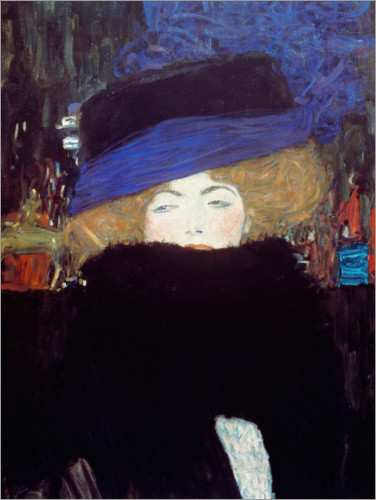 Premium poster Woman with hat and feather boa