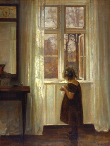 Premium poster Little girl at a window