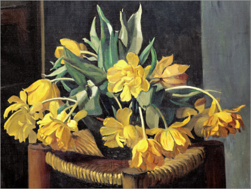 Premium poster Double Yellow Tulips on a Wicker Chair