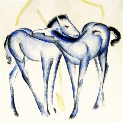 Wall sticker Two blue horses