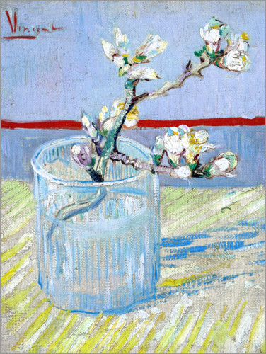 Premium poster Blossoming almond branch in a glass