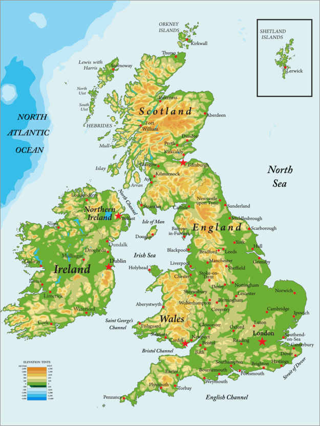 Premium poster Topography Map of Great Britain and Ireland
