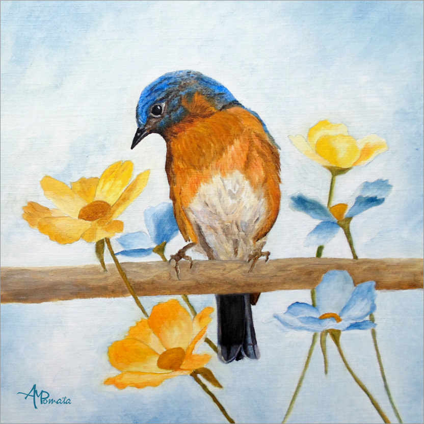 Premium poster Bird with spring flowers