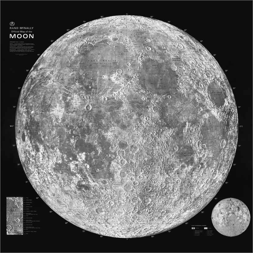 Premium poster Moon Map, Black and White