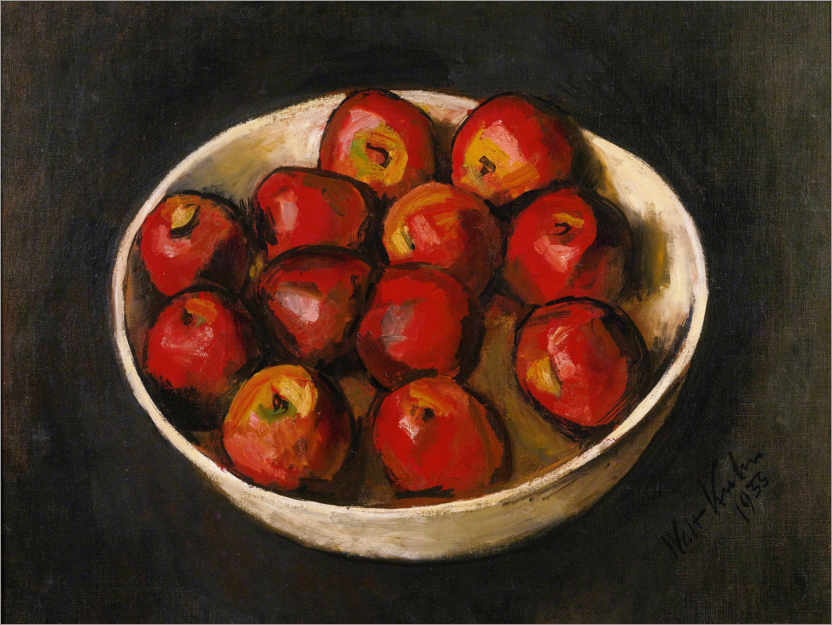 Premium poster Red apples in a wooden bowl