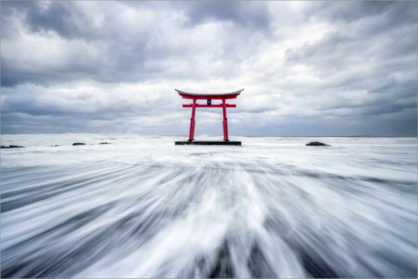 Premium poster Red torii by the sea