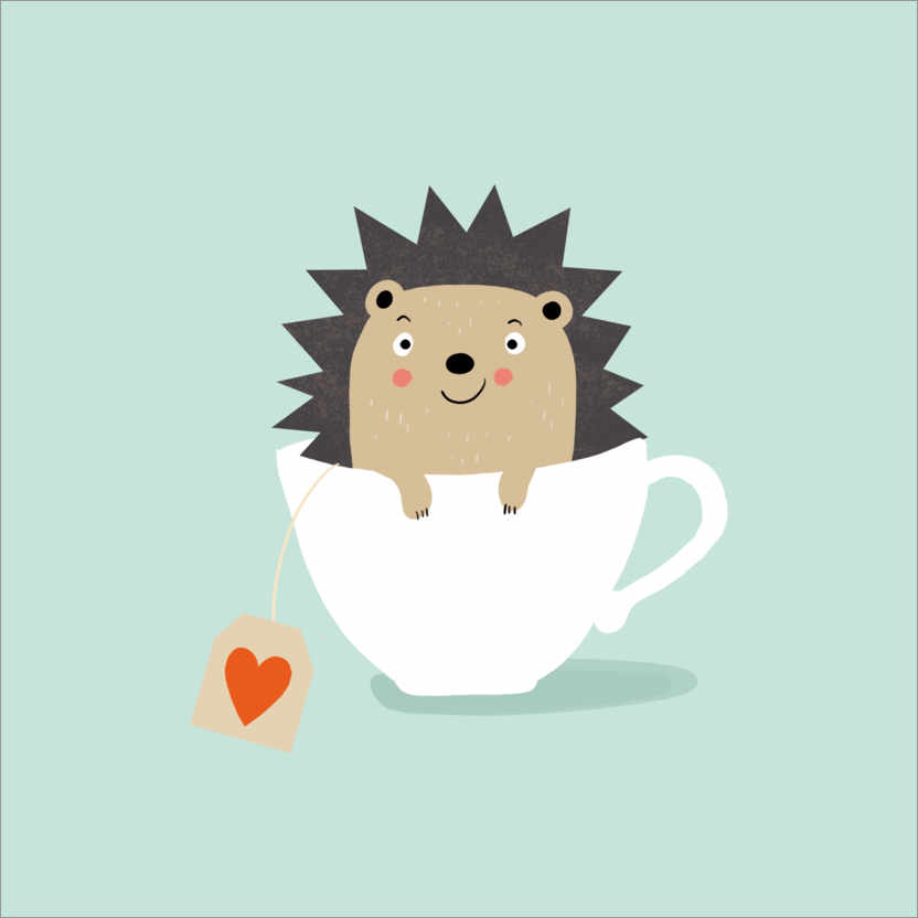 Premium poster Cups of hedgehogs