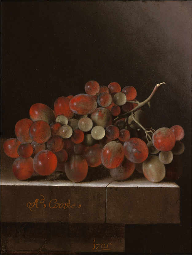 Premium poster Grapes on a stone slab
