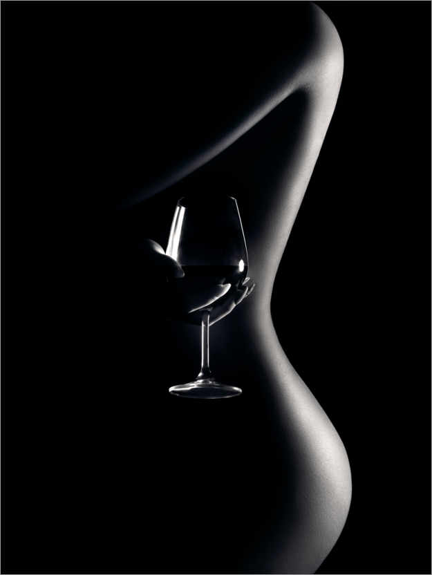 Premium poster Nude with wine glass