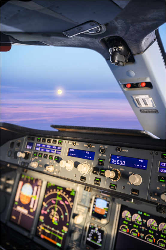 Premium poster Airbus A380 cockpit with rising moon