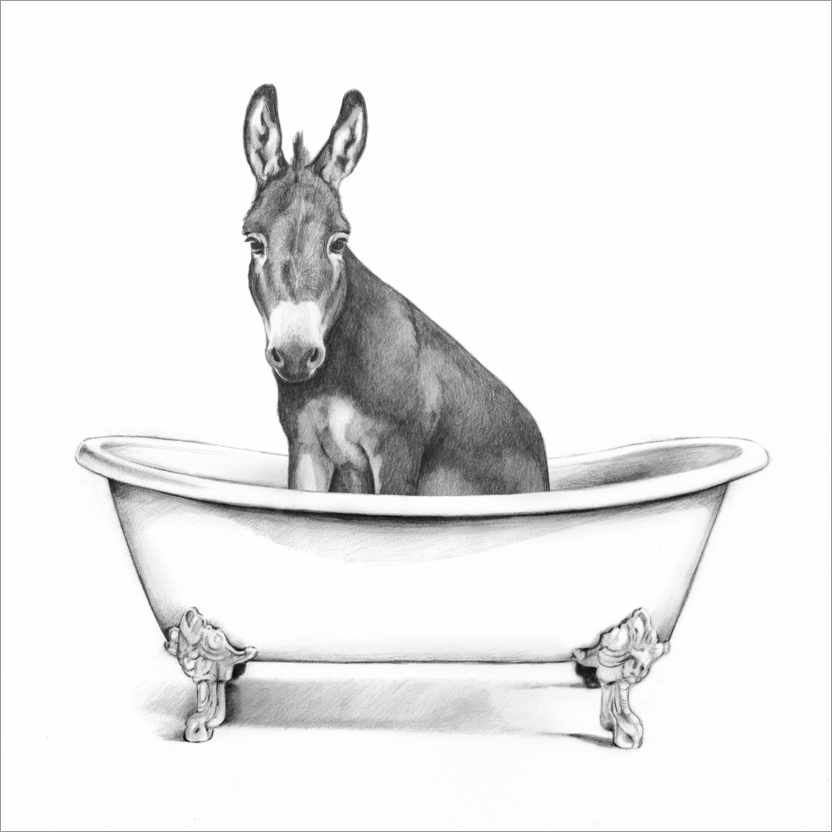 Premium poster Donkey in the Tub