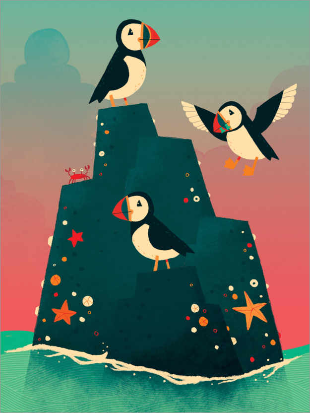 Premium poster An island full of puffins
