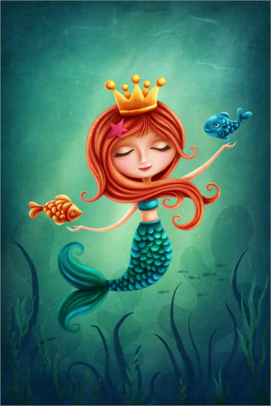 Premium poster Mermaid playing with fishes