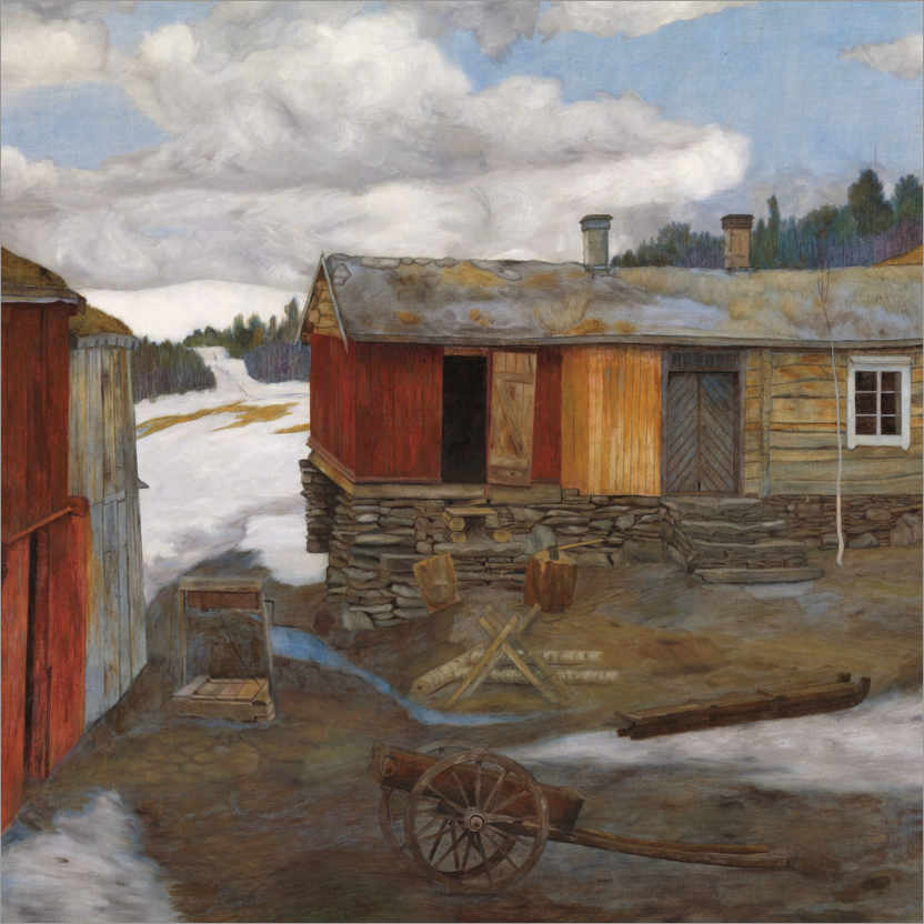 Premium poster Røros, yard in the snow solution