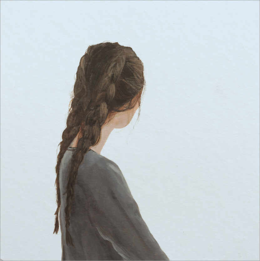 Premium poster Lost profile of a young woman with two braids