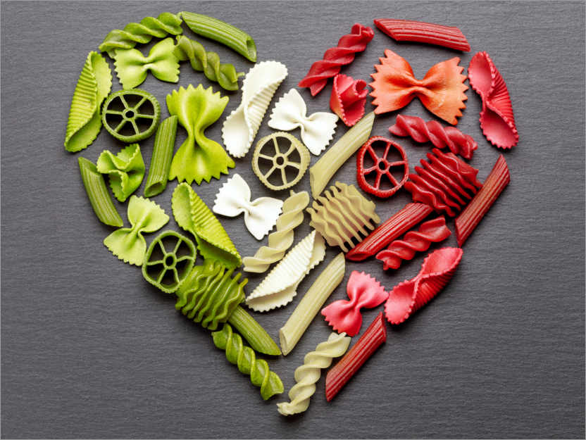 Premium poster Pasta heart with Italy flag colors