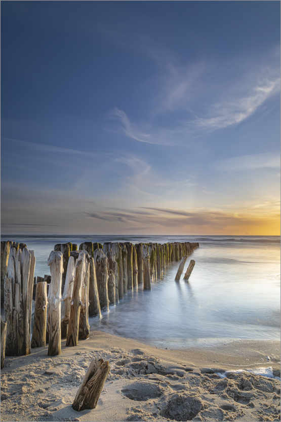 Premium poster Sunset with groyne