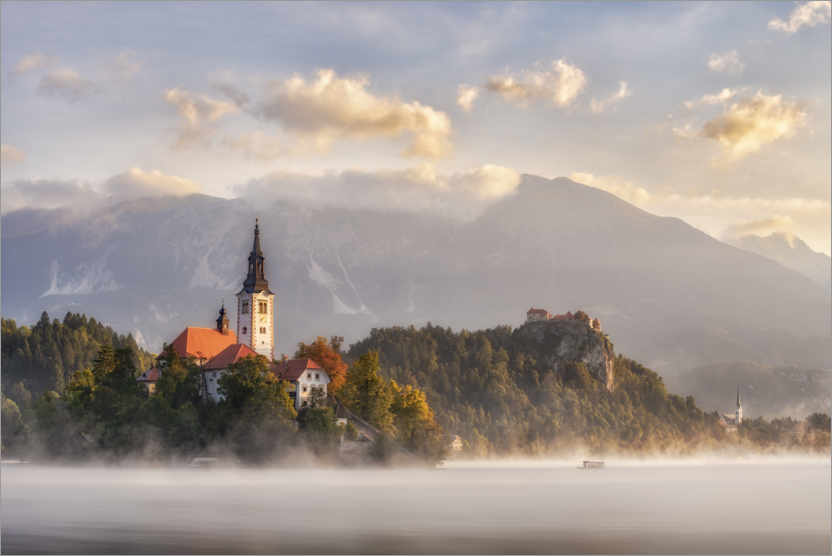 Premium poster Morning light on Lake Bled