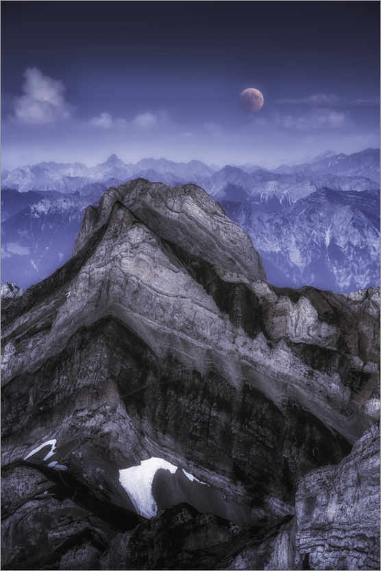 Premium poster Lunar eclipse in the mountains