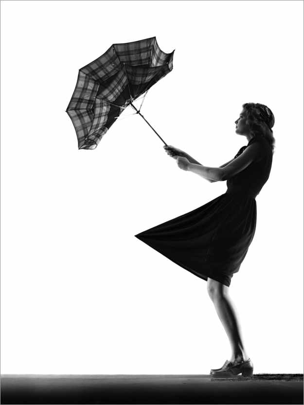 Premium poster Young woman with an umbrella
