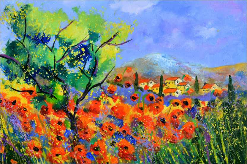 Premium poster Red poppies in provence