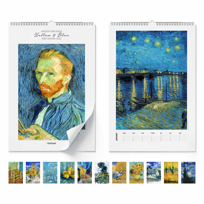 Wall calendar Yellow & blue 2021