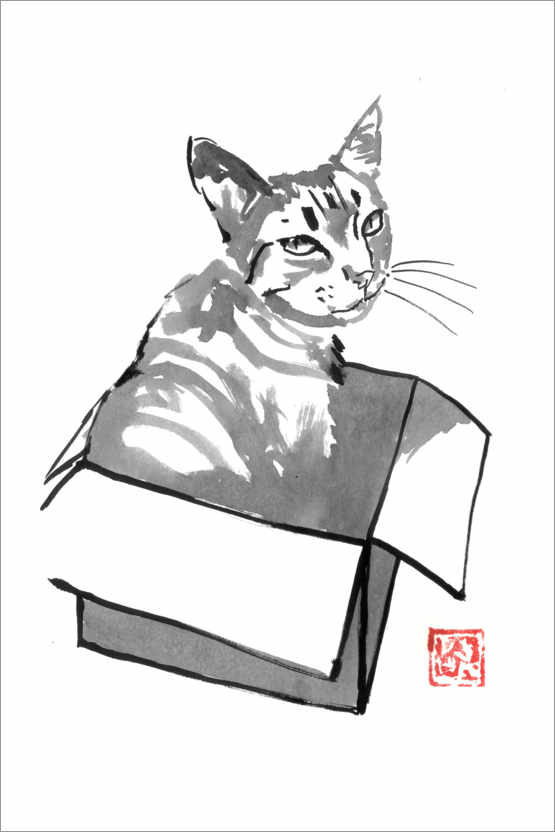 Premium poster Cat in the box