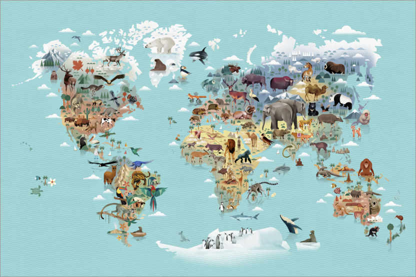 Premium poster World Map of Animals