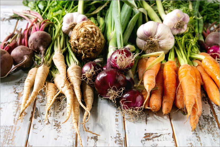Premium poster Variety of root vegetables