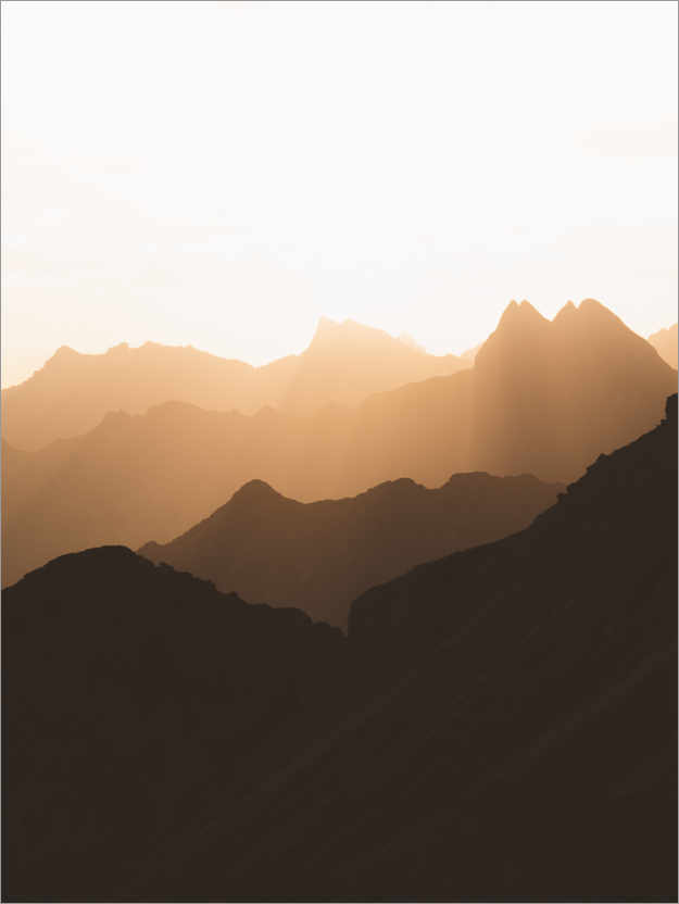 Premium poster Silhouette of the Alps at sunrise