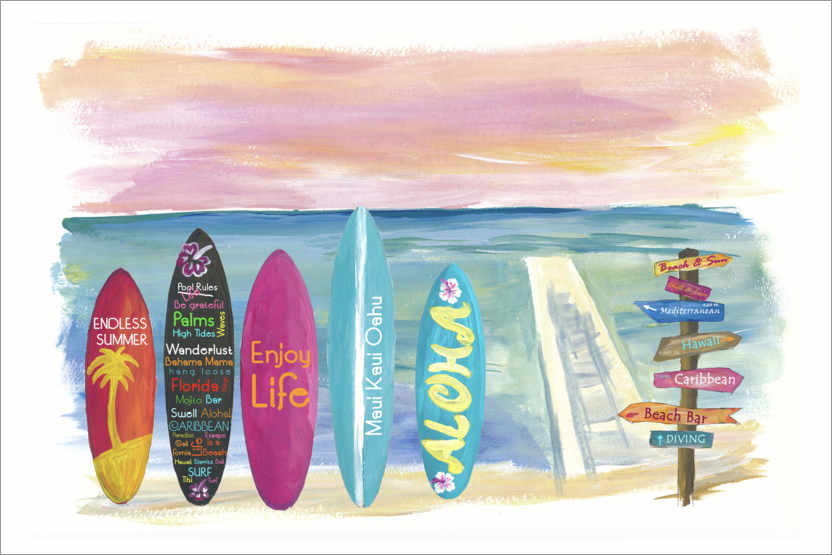 Premium poster Surfboards by the sea