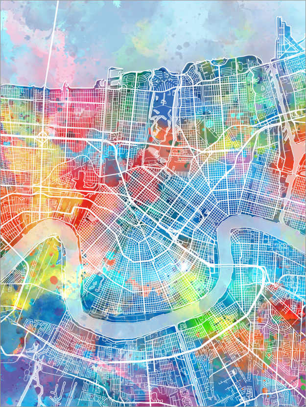Premium poster New Orleans city map