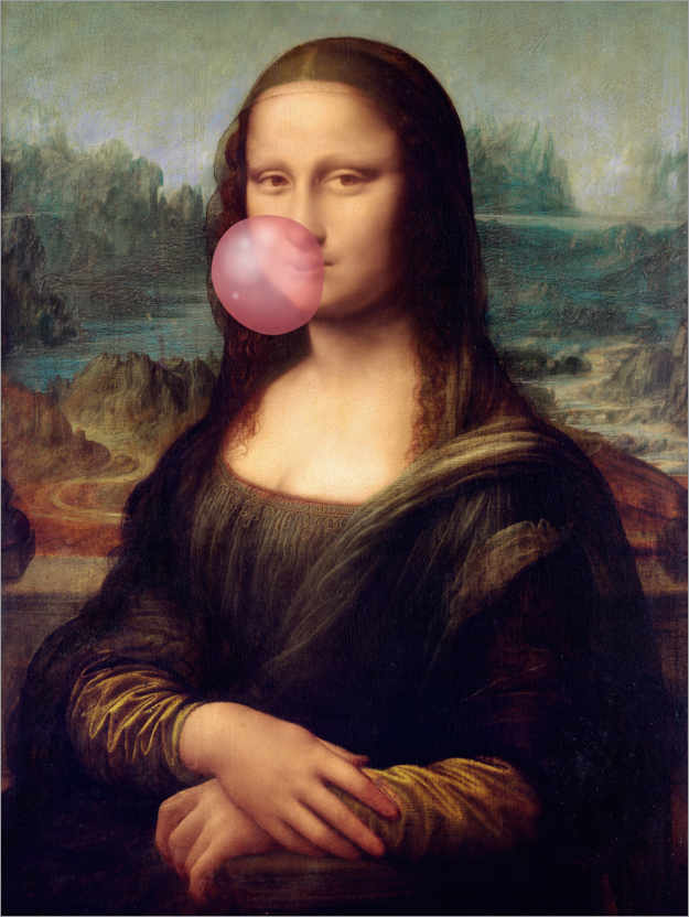 Premium poster Mona Lisa with Bubble Gum