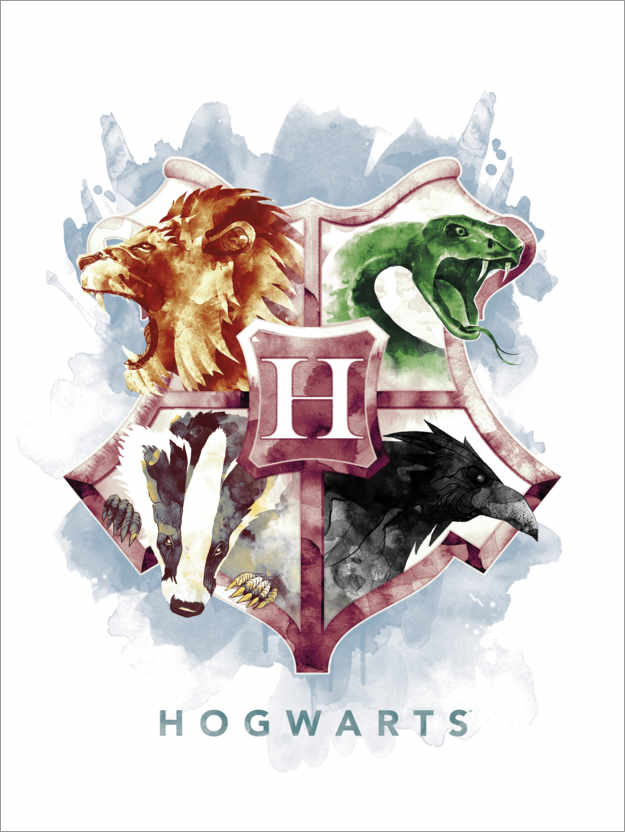 Premium poster Gryffindor, Hufflepuff, Slytherin and Ravenclaw