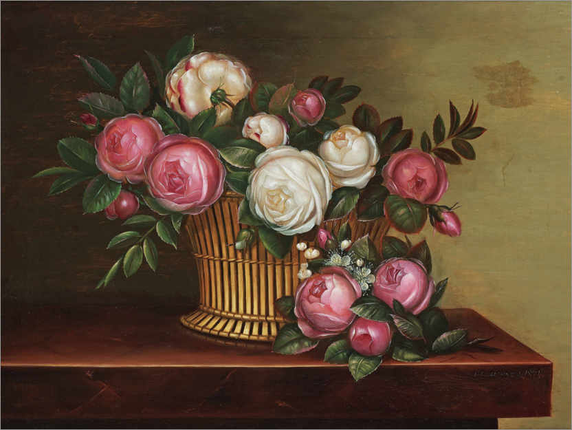 Premium poster Still life with white and pink roses in a basket