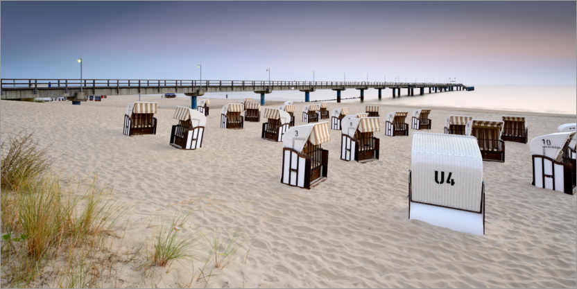Premium poster Pier and beach chairs on Usedom