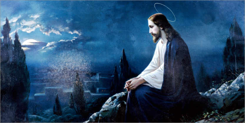 Premium poster Jesus sitting on the mount of olives