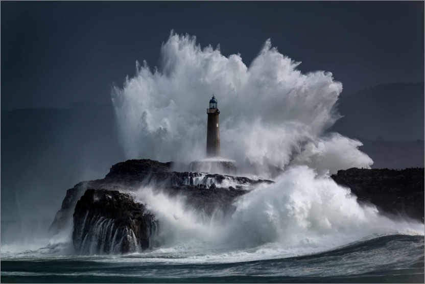 Premium poster Lighthouse in the waves