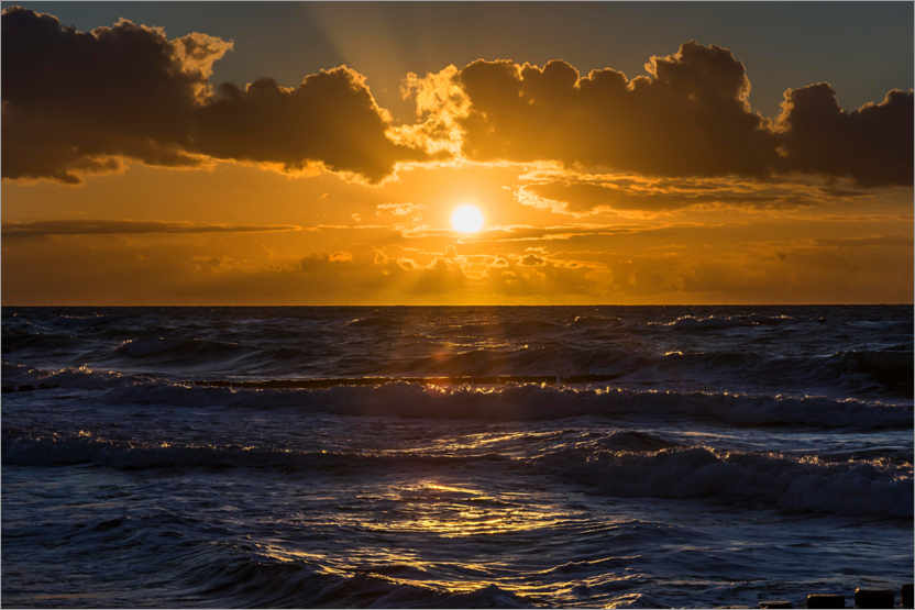 Premium poster Sunset over the wavy Baltic Sea
