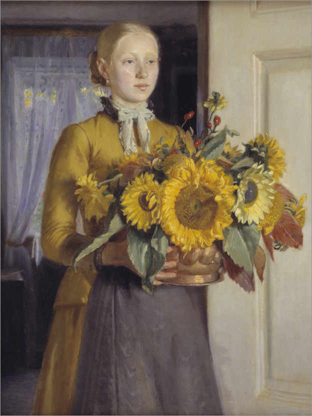 Premium poster The girl with the sunflowers