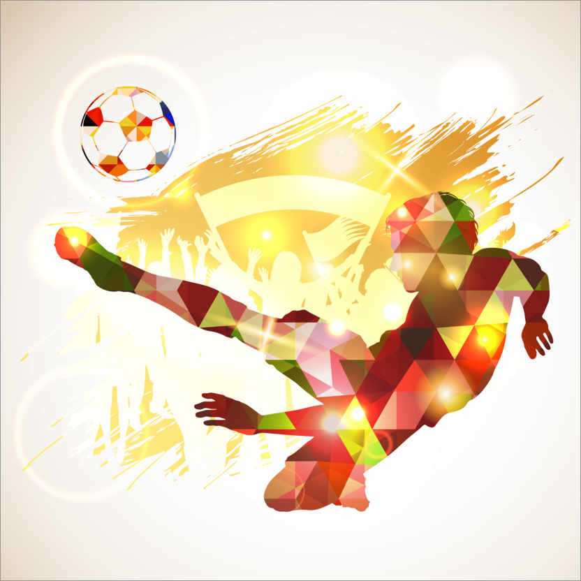 Premium poster Soccer player victory blow